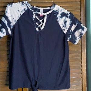 Cute navy blue shirt with tie dyed sleeves.